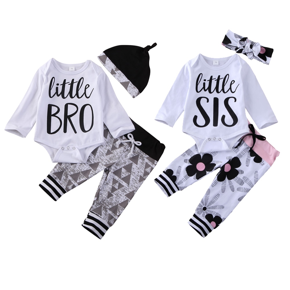 Family Matching Outfits 2020 Newborn Baby Boys Girls Little BRO Sister Romper Jumpsuit Tops Spring Twin Clothing 3Pcs Set 0-18M