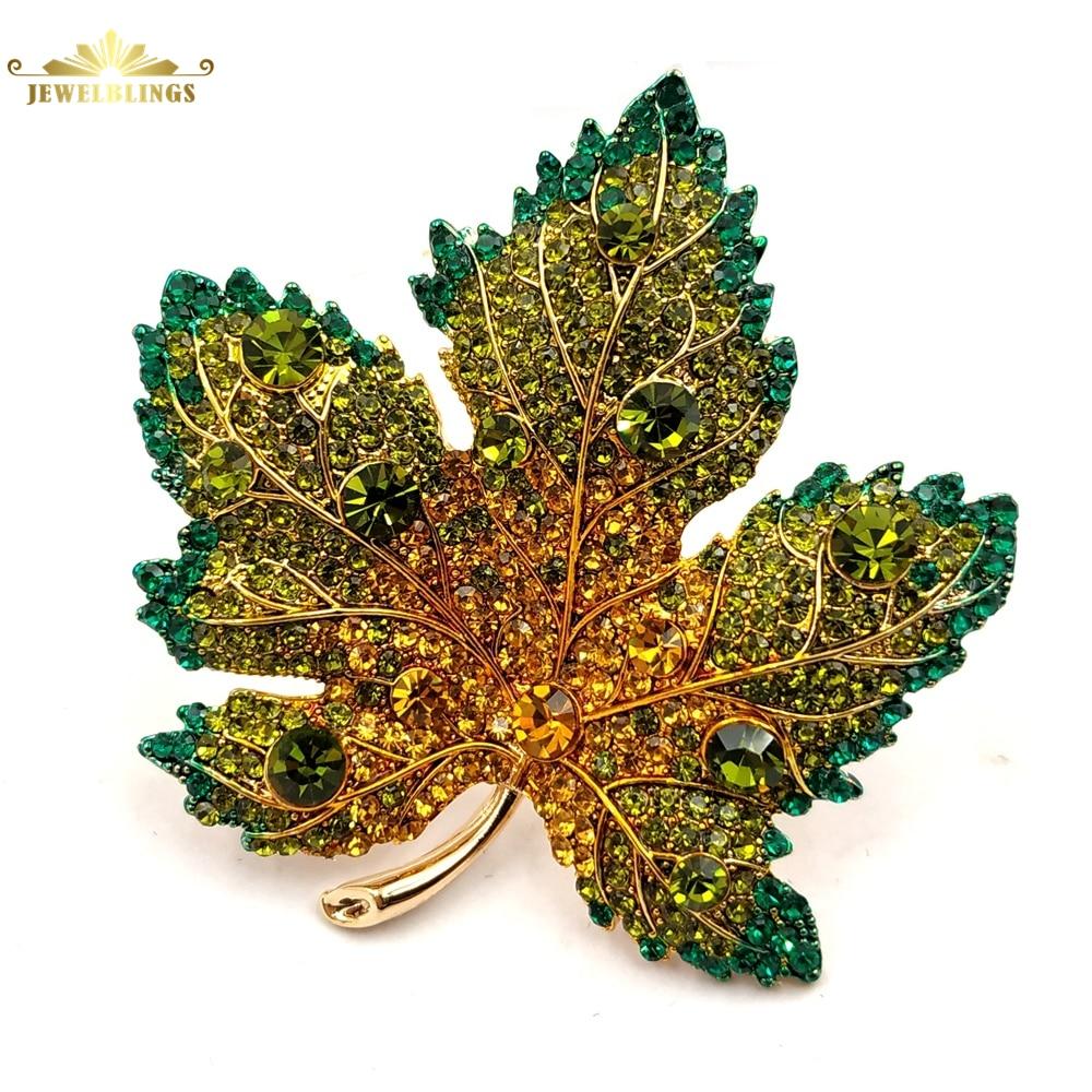 Broche Vintage completo Micro pavé amarillo naranja verde hoja de arce cristalina tono dorado tallo corto hoja de arce canadiense Pins joyería de otoño
