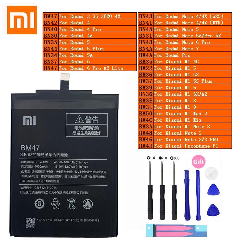 Xiaomi Original Redmi nota Hongmi Mi Max 2 A2 3S 3S 4 4A 4C 4X mezclar 5 5A 5X 5S 6 6X 7 8 9 Lite Plus Pro teléfono móvil F1 de la batería del teléfono