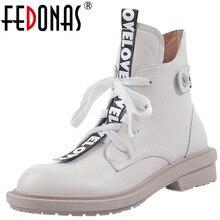 Fedonas concisa botão decoração feminina quente booes couro genuíno cruz amarrado saltos grossos bombas femininas sapatos de festa casamento mulher