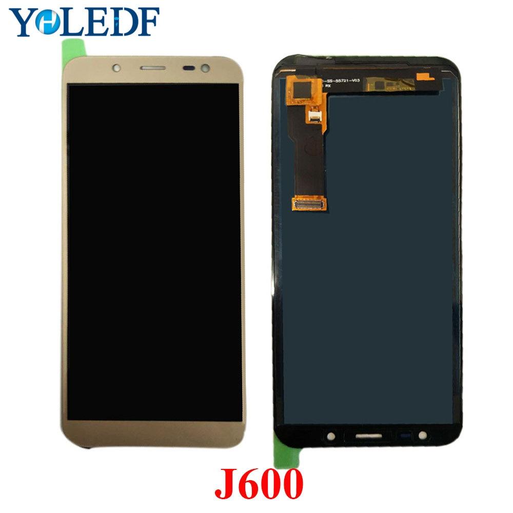 "5,6 ""LCD para Samsung Galaxy J6 2018 J600 J600F J600Y J600G J600FN pantalla digitalizador panel táctil piezas de montaje se puede ajustar"