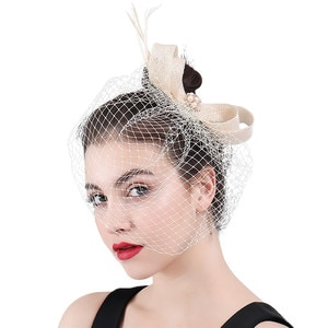 New Ivory Veils  Bridal Fascinator Women Bow Beauty Mesh Hair Accessory Wedding Party Floral Hat with Hair Clips or Multicolors