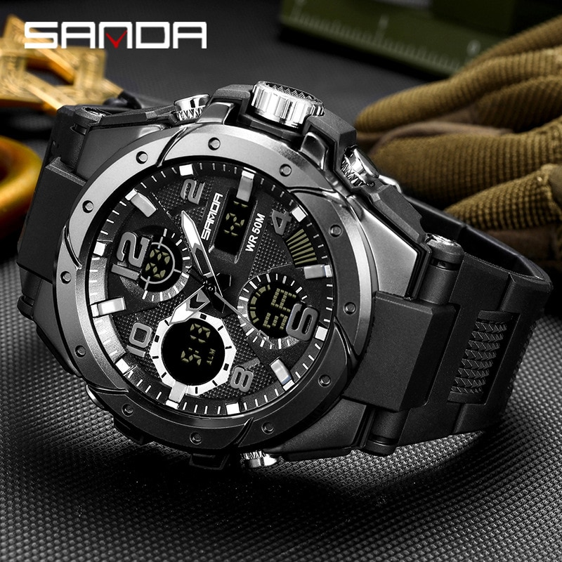 Sport Military Wrist Watch Men Watches Brand Male Watch For Men Clock Dual Display Wristwatch Army Outdoor Waterproof SANDA Hour