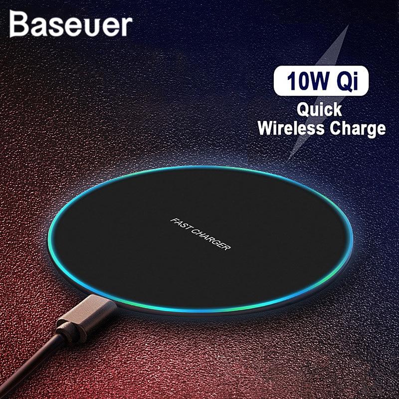 Baseuer 10W Drahtlose Ladegerät LED Atmen Licht Qi Schnelle Wireless Charging Pad Für iPhone X XS 8 Samsung Xiaomi