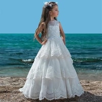 beige lace flower girls dress for wedding party a line tiered appliques floor length toddlers infant holy communion dress