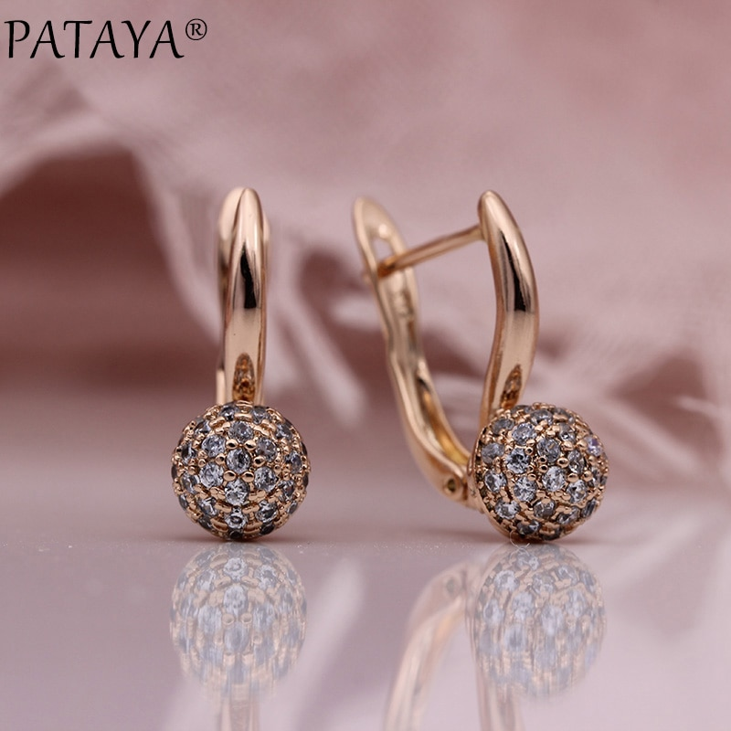 PATAYA Новинка 585 сферические висячие серьги из розового золота микро-воск инкрустация натуральный циркон Модные женские сережки Свадебные модные ювелирные изделия