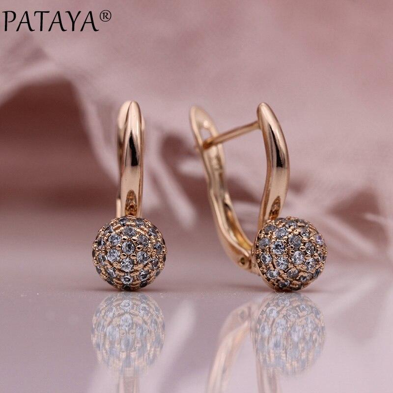 PATAYA New 585 Rose Gold Spherical Dangle Earrings Micro-wax Inlay Natural Zircon Trendy Women Earrings Wedding Fashion Jewelry