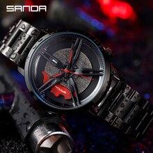 SANDA Fashion Men Watch Car Racing Wheel Dial Series Quartz Wristwatch Stainless Steel Strap Outdoor Match Relogio Masculino