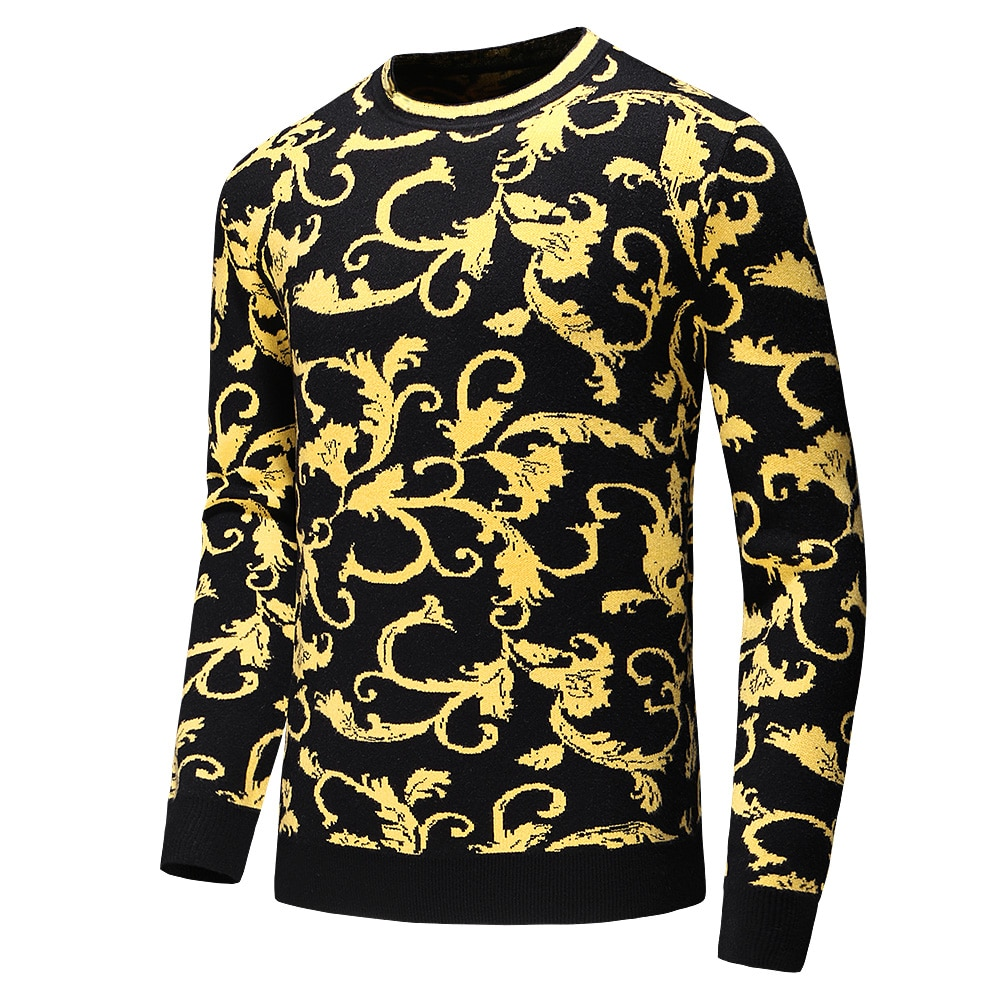 New Arrivals Men's  Fashion Letter Embroidery Knitwear Winter Men's Clothing Crew Neck Long Sleeve Sweater for Men