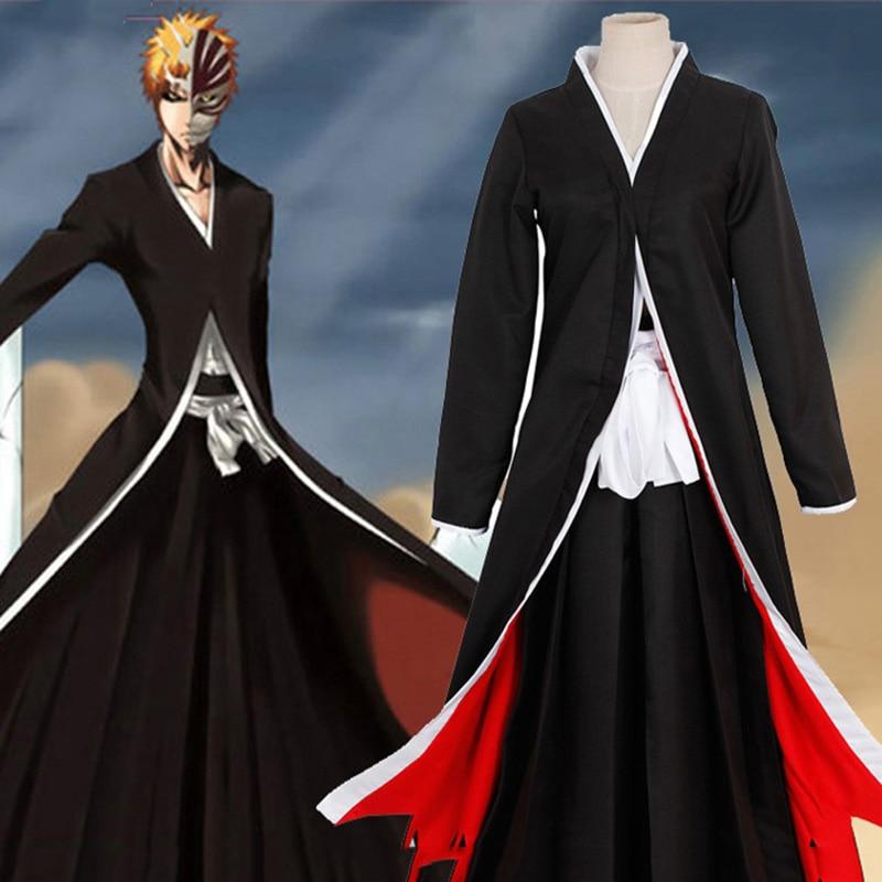 Adult Hot Anime Cosplay Costume Bleach Kurosaki Ichigo Black Long Robe Cloak Coat Exquisite Costume Prop Halloween Costume Suits