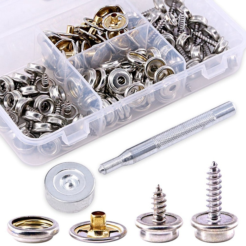 120-Pieces Stainless Steel Marine Grade Canvas and Upholstery Boat Cover Snap Button Fastener Kit