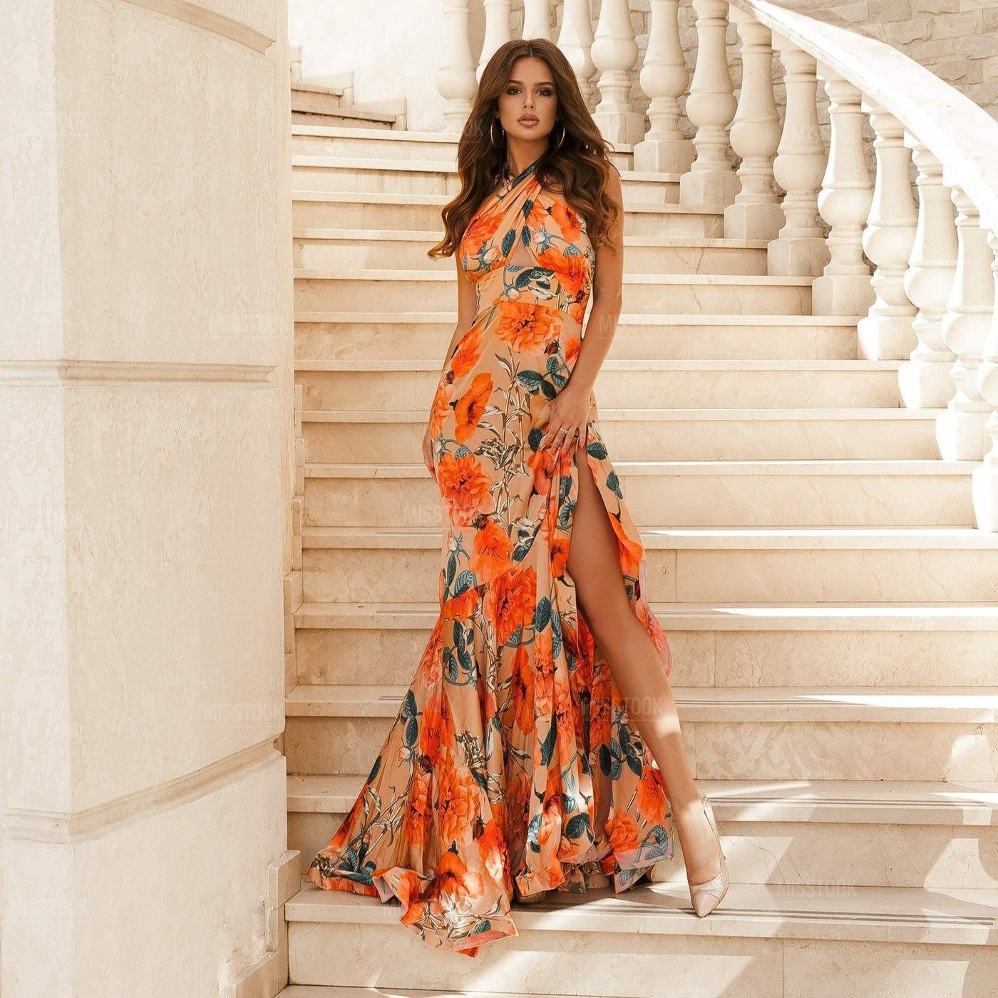 2021 Fashion Summer High Split Boho Backless Beach Dress Women Floral Print Sleeveless Maxi Party Elegant Vintage