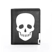 classic skull design printing black pu leather wallet men women high quality bifold credit card holder short purse male gift