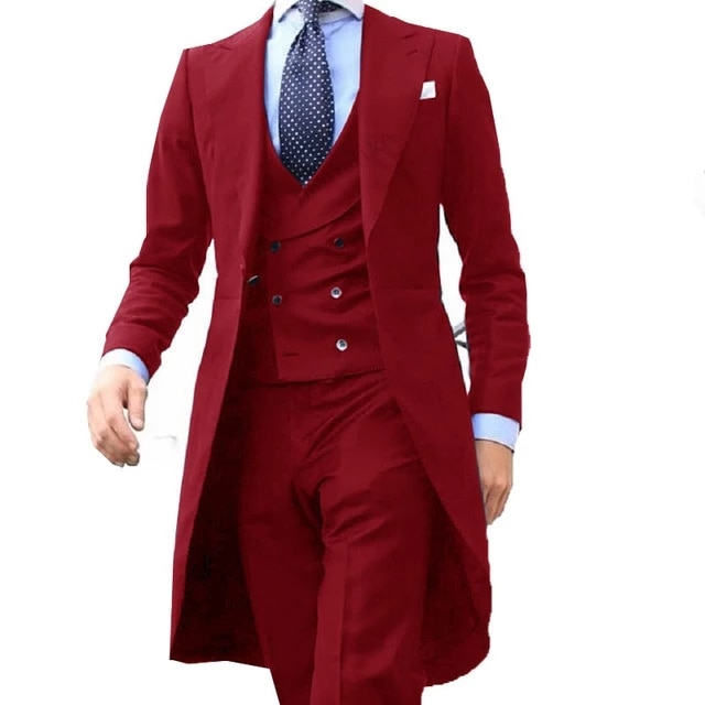 جاكيت رجالي من 3 قطع ، جاكيت ، بدلة ، جاكيت ، بنطلون ، زي أنيق ، حفلة موسيقية ، تصميم صيني ، أحمر ، 2021