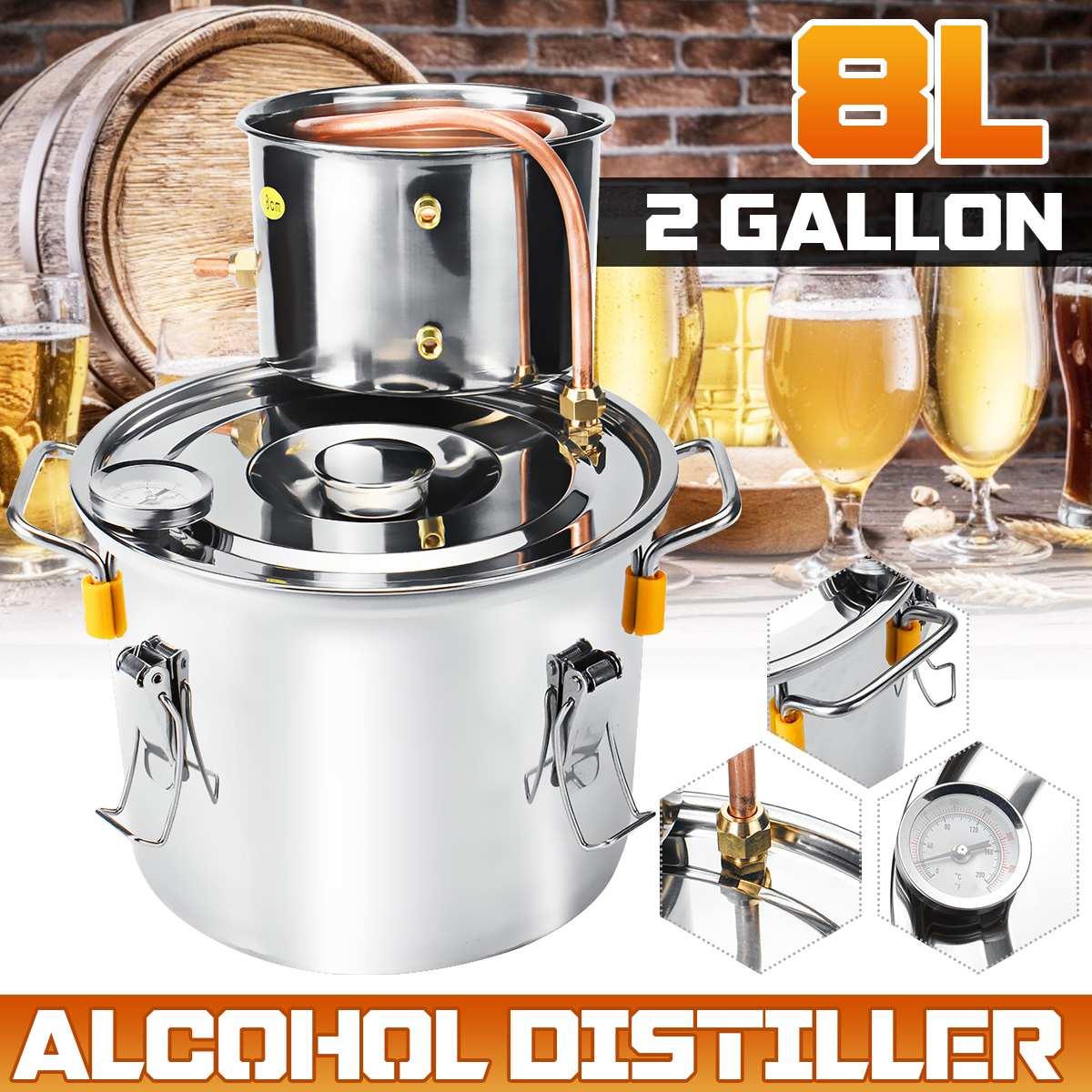 8L 2 جالون المقطر Alambic Moonshine الكحول لا يزال المقاوم للصدأ النحاس لتقوم بها بنفسك المنزل المشروب النبيذ المياه براندي زيت طبيعي طقم تخمير