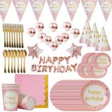 Serviettes gobelets pailles roses pour anniversaire   Pour anniversaire adultes, 18, 20, 30, 50, 60 ans, décoration de fête de mariage, fournitures de fête danniversaire, pour enfants adultes