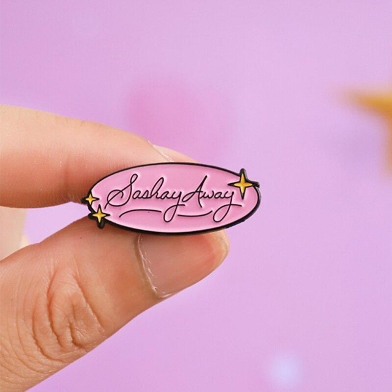 Despidete con gracia pines rosas broche Rupauls Drag Race Drag Queen Katya broche bolsa ropa Pin de solapa