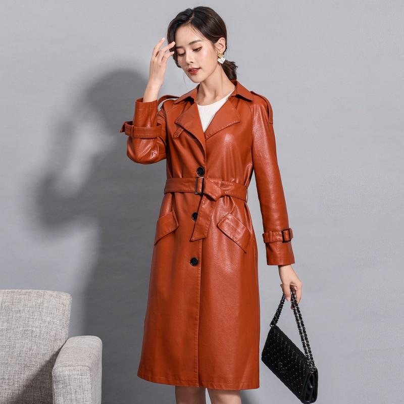 Women Long Faux Leather Jacket Winter Autumn Plus Size 4XL Faux Leather Trench Coat With Belt Female Windbreaker Long Outerwear enlarge