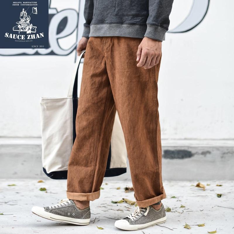 Saucezhan caqui tingimento calças de algodão calças casuais calças masculinas fashions calças retas & capris calças casuais