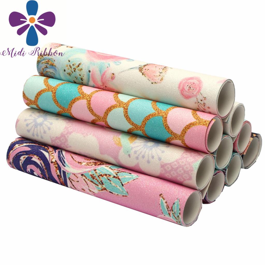 """8x13 """"(20x34cm) estampado con purpurina cinta de vinilo Corte por la libertad 60 uds escala colorida serie gradiente Color DIY moños para el pelo"""