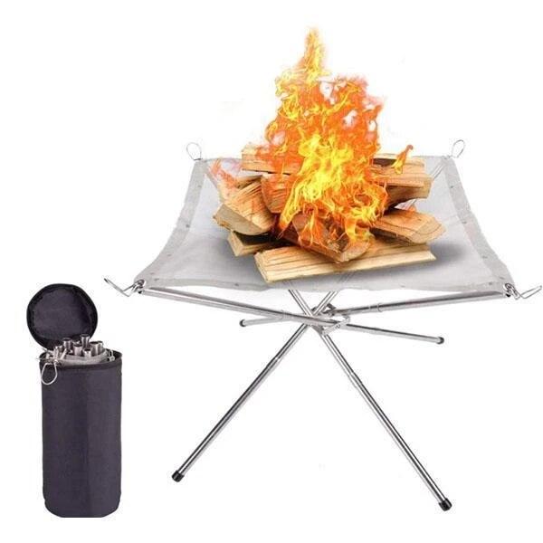 Taşınabilir kasılma barbekü tutucu raf açık taşınabilir yangın raf katlama masa ızgara paslanmaz çelik nokta kömür sobası
