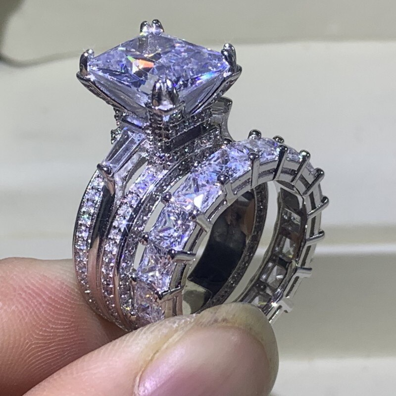 Clássico torre eiffel jóias 925 prata esterlina casal anéis princesa corte branco claro 5a zircon feminino casamento nupcial anel conjunto