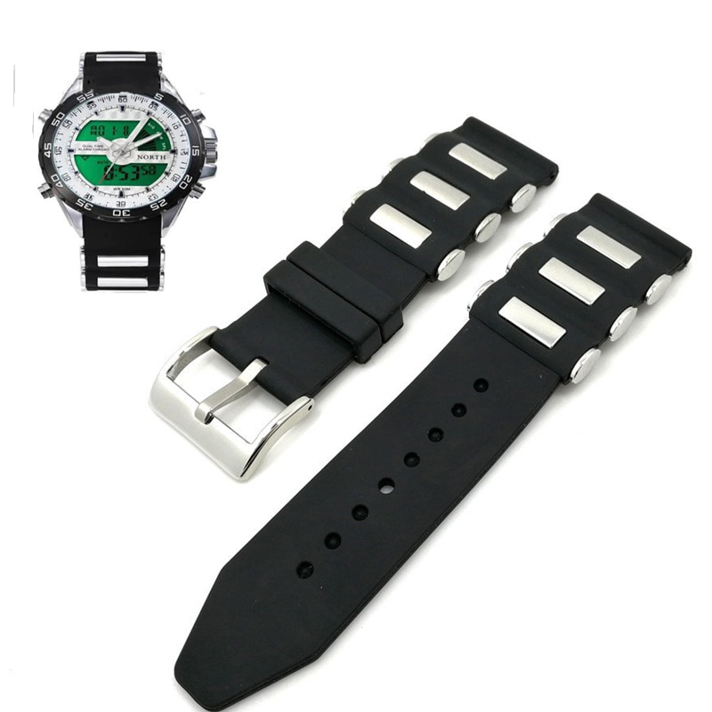 AliExpress - Black Metal Watchband Generic Fashion Sport Silicone Watch Strap Bracelet Replacement Wrist 20mm 22mm 24mm 26mm Watchband Belts
