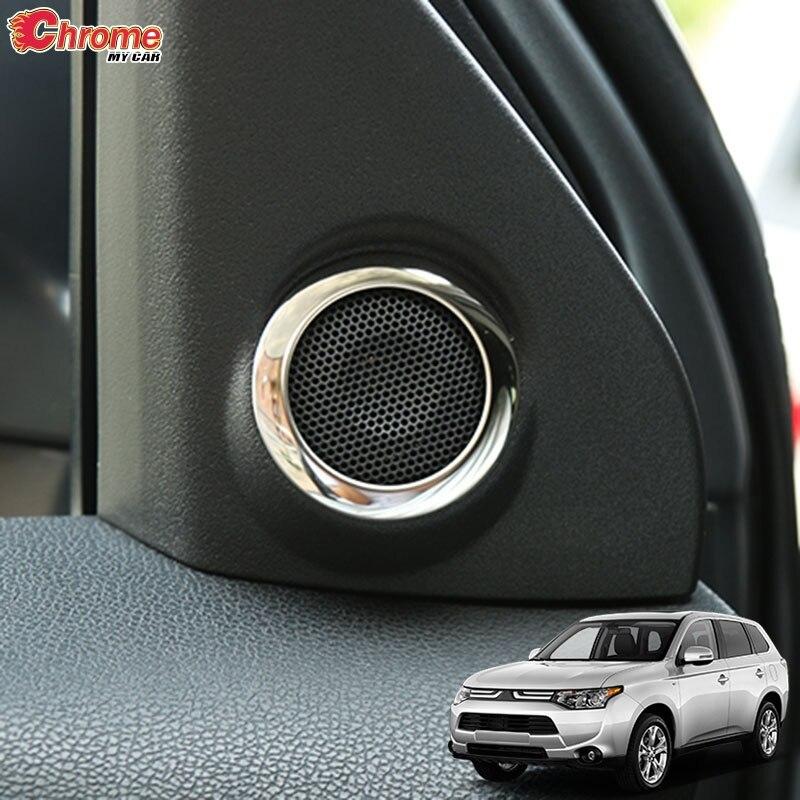 Para Mitsubishi Outlander 2014 2015 2016 2017 2018 2019 cromado Interior A Pillar Stereo cubierta de altavoz embellecedora decoración de estilo de coche