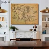 BANMU-affiche dart mural avec carte terre retro  pres de HARAD  pour decoration de maison