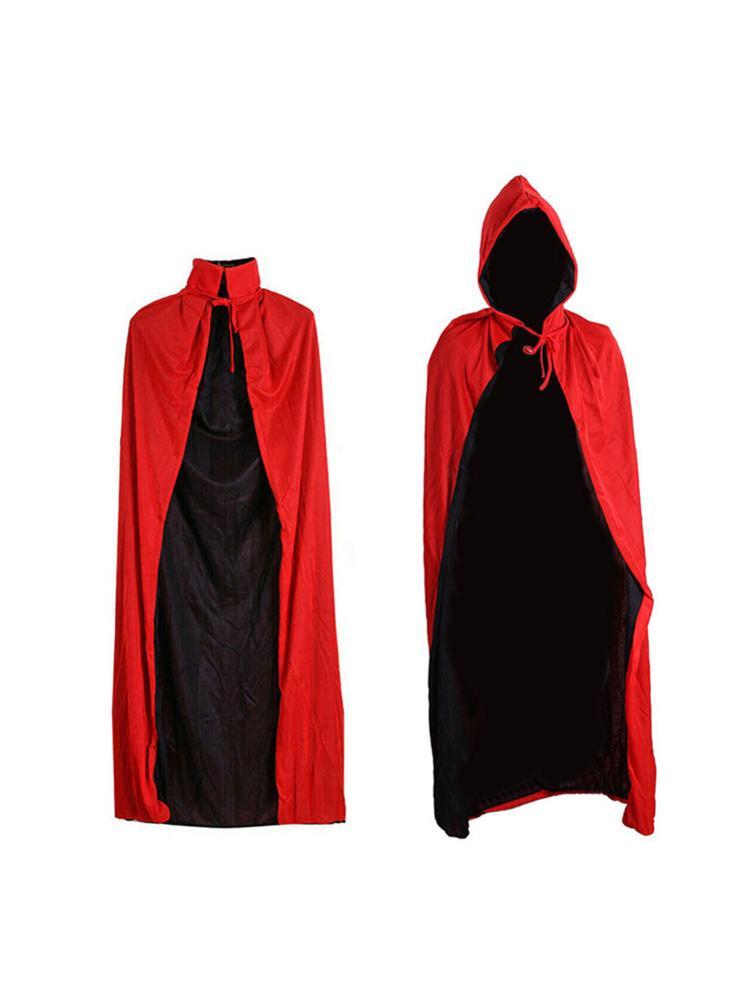 Halloween Grim capa Reaper capa para Halloween negro rojo vampiro capa con capucha Cosplay disfraz para fiesta de Halloween