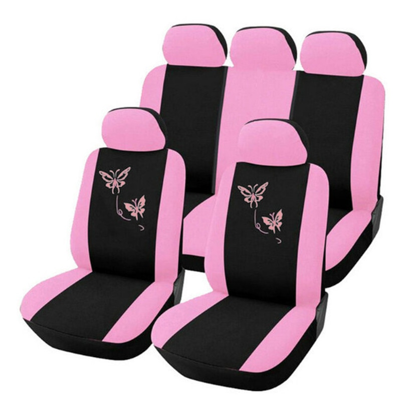 AliExpress - 4/9pcs/set Pink Car Seat Covers Butterfly Embroidery Car-Styling Woman Seat Covers Automobiles Car Interior Accessories