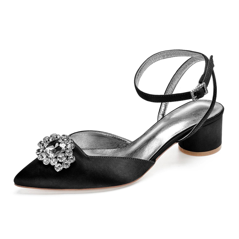 Solo un par de zapatos de vestir de satén negro de talla 38, zapatos de tacón de gatito con punta estrecha, zapatos de señora con broche de cristal, zapatos funerarios para graduación