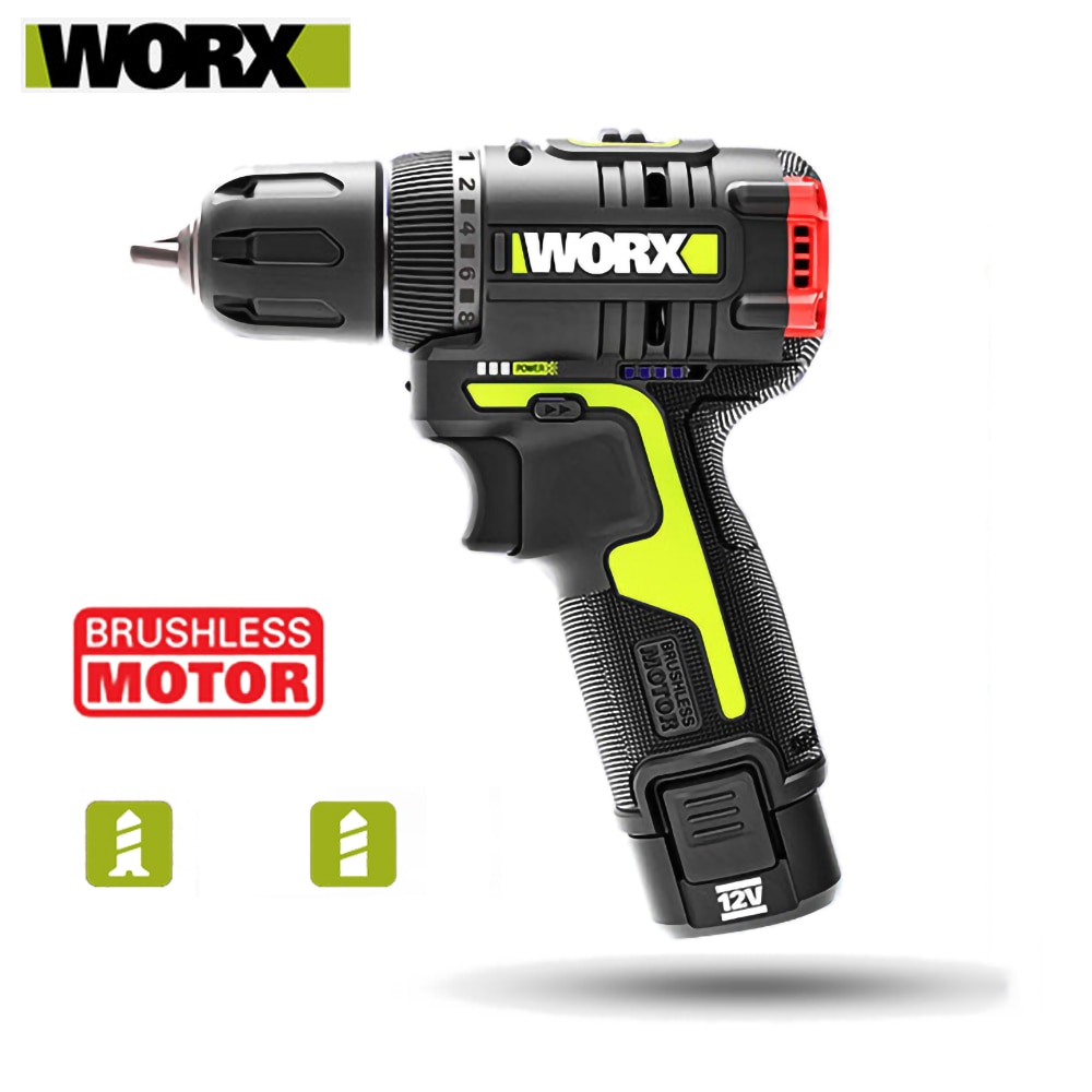 Worx WU130 Brushless Drill Electric Drill 12V Cordless Screwdriver 1800RPM 30Nm Battery Capacity Indicator 2.0Ah Lithium Battery