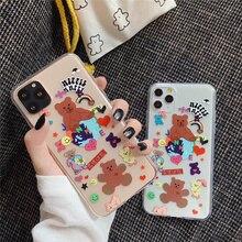 كوريا سعيد الدب سيليكون جراب هاتف آيفون 6 6S 8 7 Plus كاندي الدببة لينة غطاء سيليكون آيفون 11 برو ماكس xr x xs ماكس