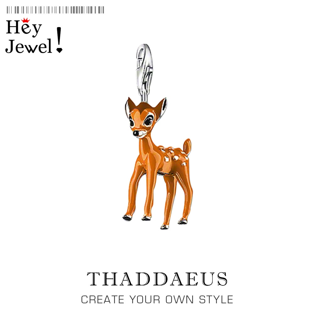 Abalorio pequeño ciervo con cierre de langosta, pulsera y collar de estilo Thomas de gran calidad, abalorio de plata de ley 925 para mujer, Bisutería