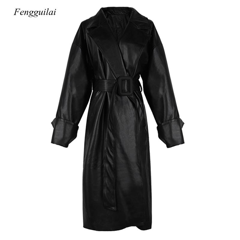 Long Oversized Leather Trench Coat for Women Long Sleeve Lapel Loose Fit Fall Black Women Plus Size Clothing Streetwear enlarge