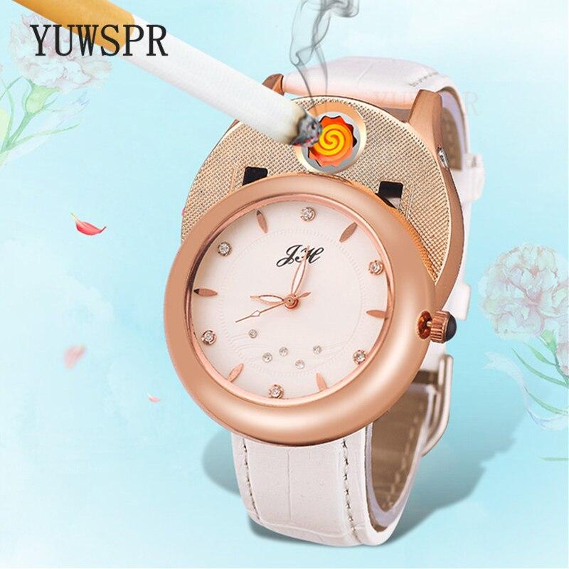 Leather Women Watches Quartz Cigarette Lighter USB Charging Windproof Outdoor Sports Watch Fashion Creative Women Clock JH-366