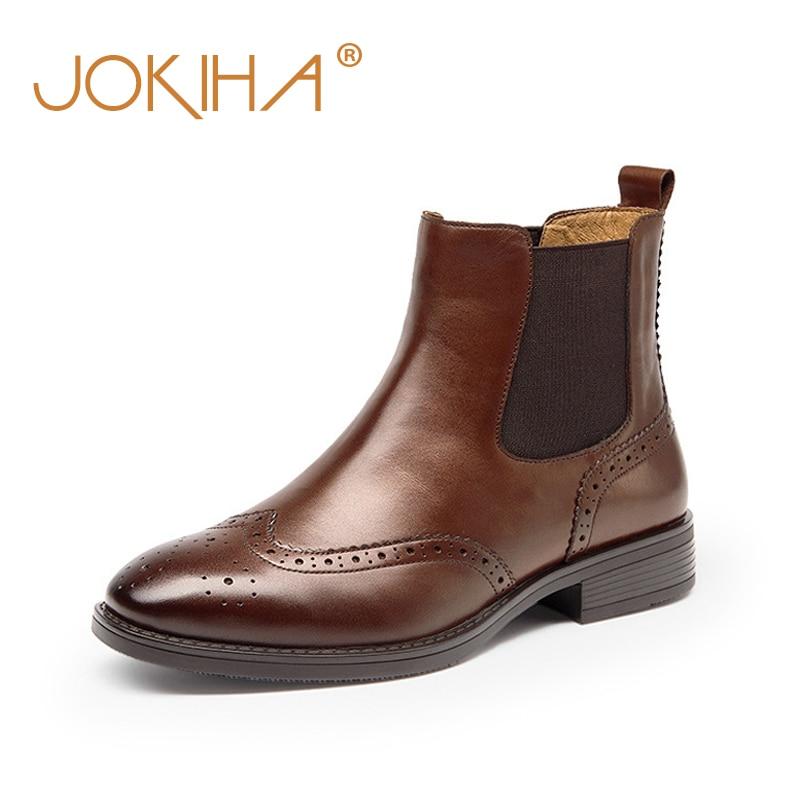 Botas estilo Chelsea para mujer estilo británico, botas de invierno para mujer con punta cuadrada, botines de piel auténtica para mujer, botines