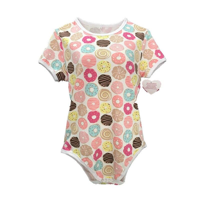 ABDL combinaison body 100% coton femmes Onesie pyjamas Snap entrejambe barboteuse adulte