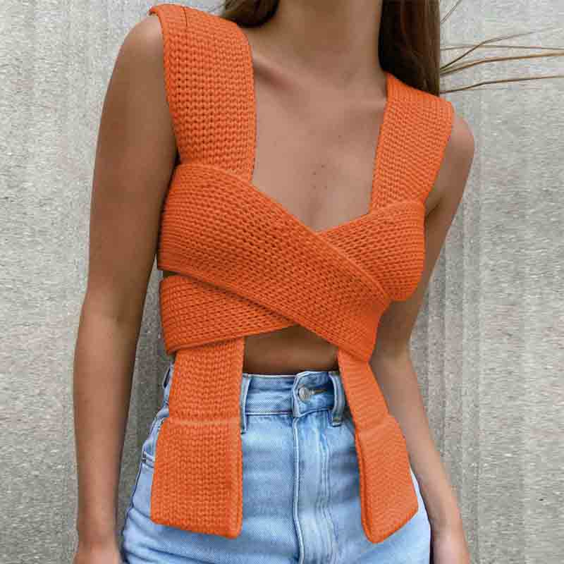 Variety Bandage Knit Top Women Summer Sleeveless Off Shoulder Knitted Crop Top Sexy Tank Top Streetwear Vest Y2k Clothes недорого