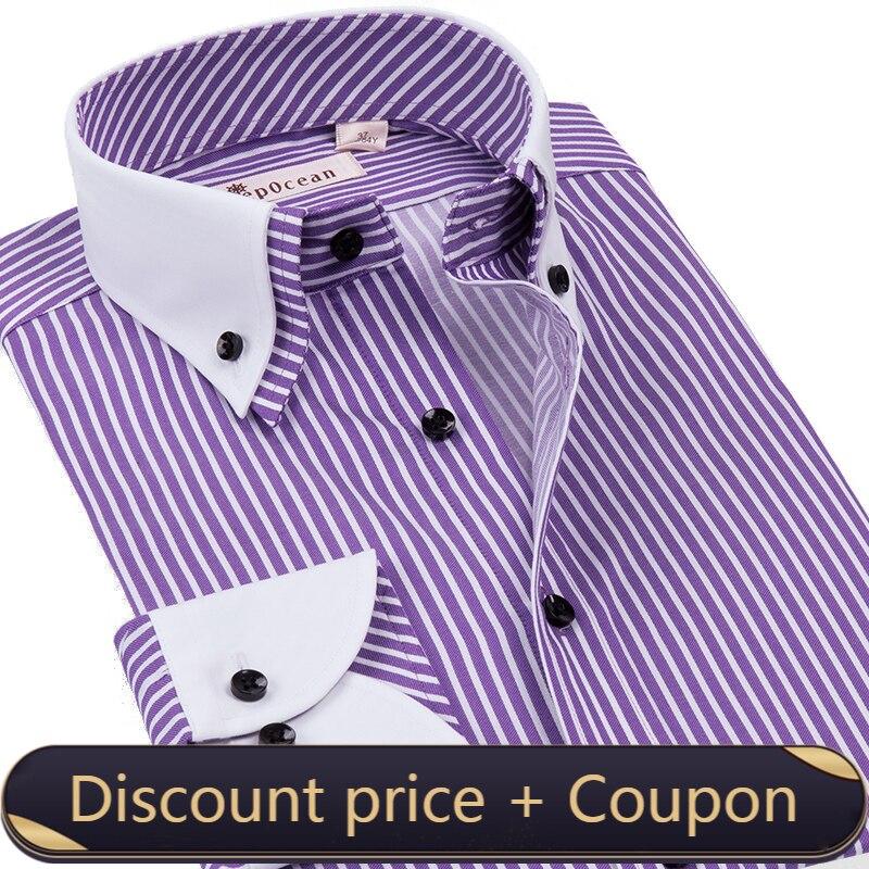 Deage cean-قميص مخطط بأكمام طويلة للرجال ، قميص كوري ضيق بياقة مزدوجة ، أزياء غير رسمية