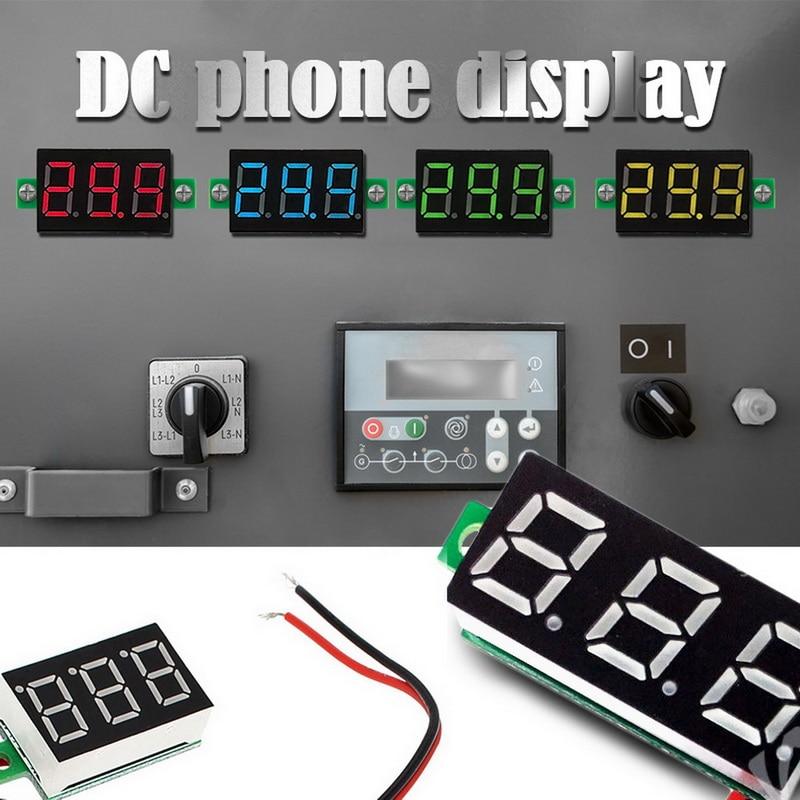 "Medidor de voltaje, amperímetro de alta precisión, rojo/verde/azul, Mini 2/3 cables CC 0V-30V, medidor de voltaje CC de 0,36 "", voltímetro Digital, pantalla LED"