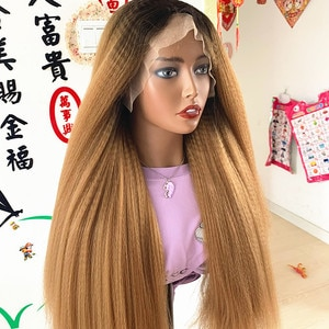 Synthetic Hair Kinky Straight Lace Front Wig For Women Long Frontal Lace Synthetic Hair Yaki Straight Wig Swiss Lace Women Wig