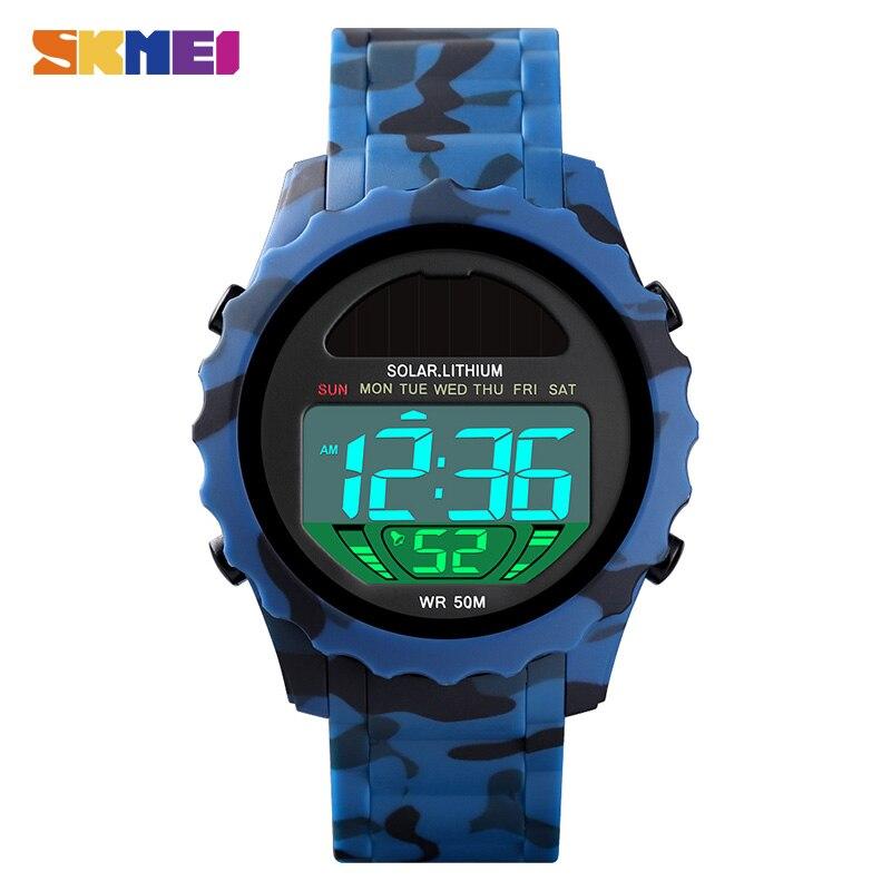 SKMEI Military Mens Sports Watches Solar Luminous Stopwatch Calendar 50m Waterproof Male Clock Relogio Masculino Digital 1585
