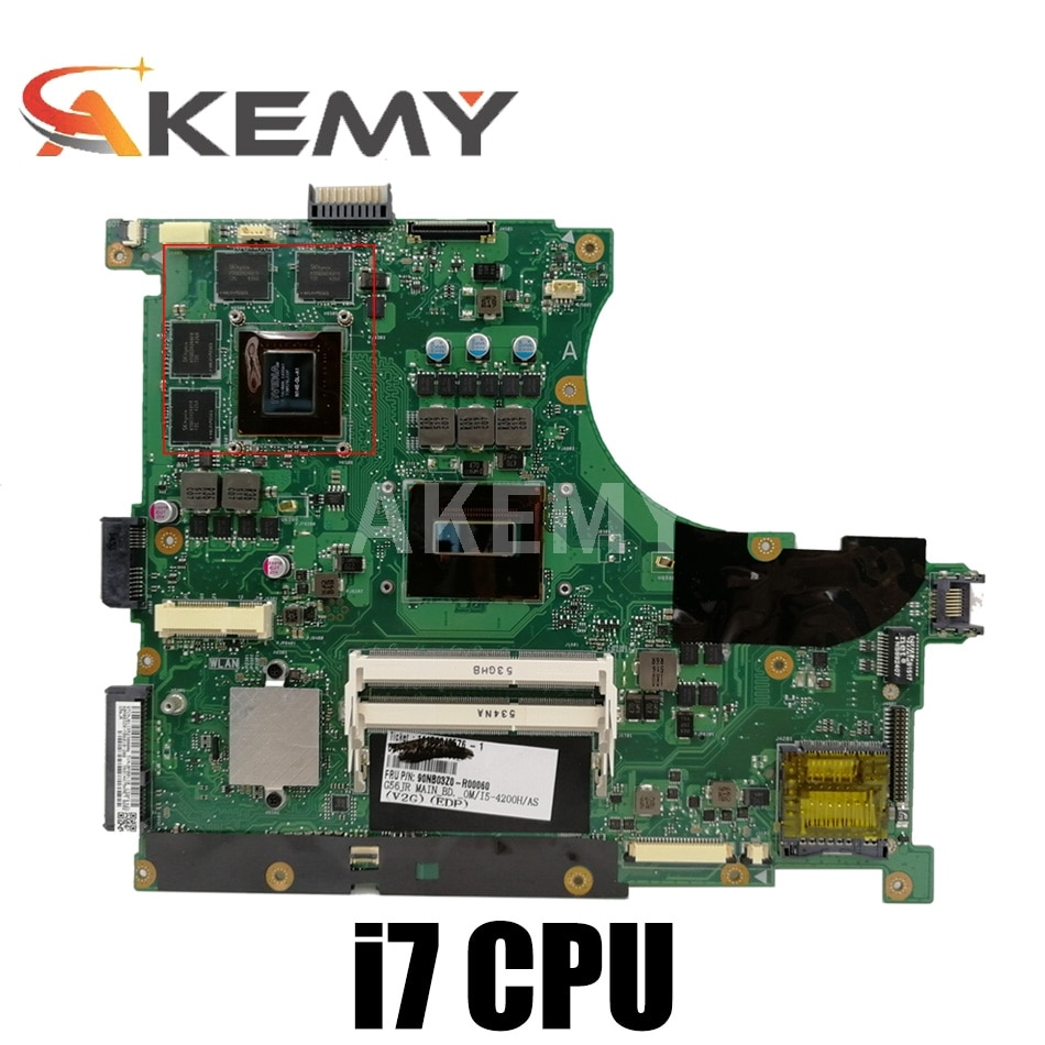Akemy N56JR REV2.0 اللوحة لابتوب ASUS N56JR G56JR I7-4700HQ اللوحة N14E-GL-A1 GT760M GPU