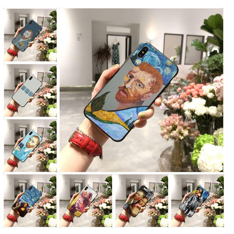 Van Gogh Mona Lisa divertido de impresión de arte de la cubierta de la caja del teléfono Shell para iPhone 11 pro XS MAX 8 7 6 6S Plus X 5 5S SE XR caso