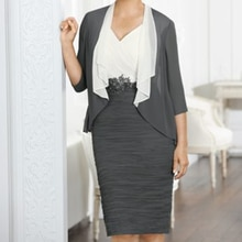 Gray Mother Of The Bride Dresses Sheath Knee Length Appliques With Jacket Plus Size Short Groom Moth
