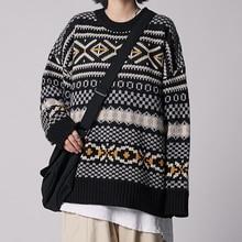 2019 otoño e invierno nuevo japonés Retro pareja Neutral cuello redondo Jersey moda Casual impreso suelto suéter M-XL