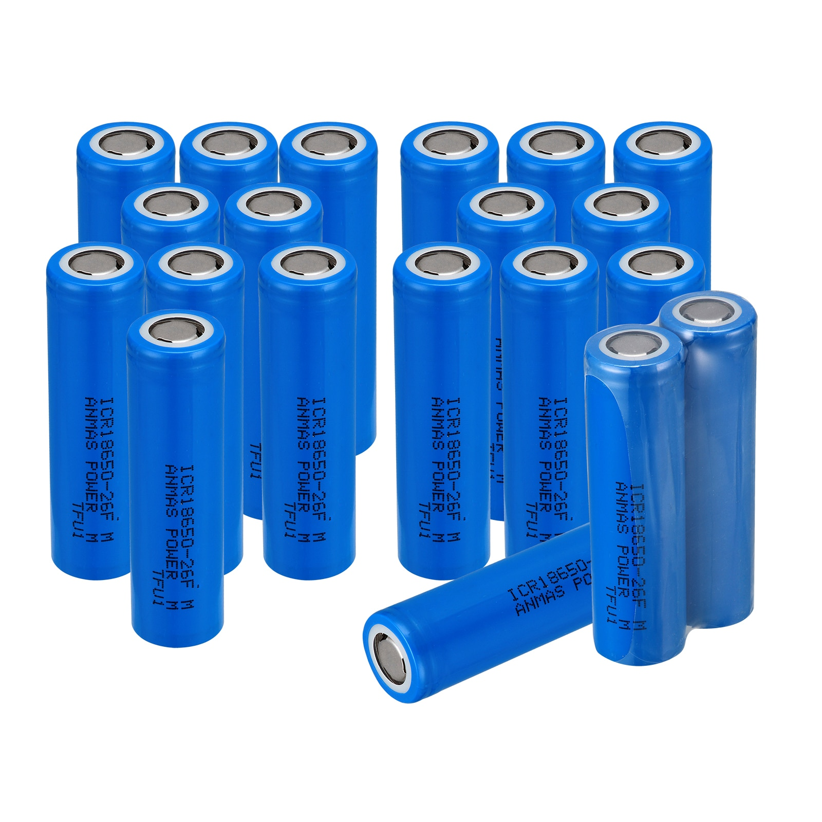 10-20 stücke Anmas Power Blau 2600mAh ICR 18650 26F 3,7 V 2600mAH Li-Ion Flache Top Wiederaufladbare batterien Batterie