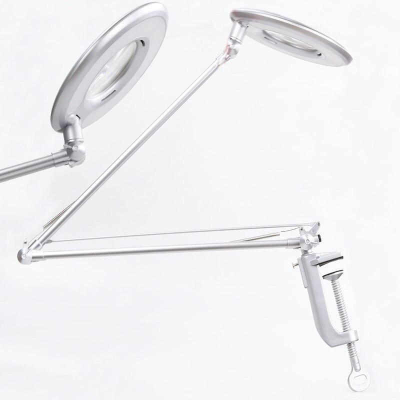 LED 8X مصباح مكبر دوار الذراع كليب على الجدول مكتب ضوء إصلاح التجميل المشبك الجمال العناية بالبشرة مانيكير زجاج عدسة الوشم